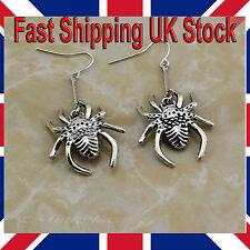 Halloween Spider Earrings Antique Silver Vintage Dangle Drop Hook Gothic Punk