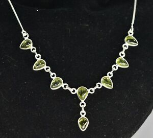 STERLING SILVER AND PERIDOT   NECKLACE VERY NICE PIECE