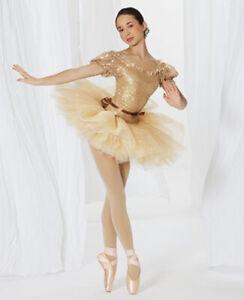 Womens Gold SA Dance Costume Ballet Revolution Small Adult Platter Tutu Short