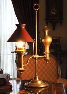 Heavy Brass Student Lamp w Brass Shade Handsome Victorian
