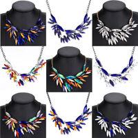 Women Fashion Jewelry Crystal Leaf Chunky Statement Bib Pendant Chain Necklace