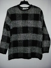 Paul Harris Design 39%Mohair Black Gray Crewneck Women's Sweater L