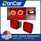 Red Tail Lights LED Submersible Stop Brake Trailer Square 80 License ZonCar New