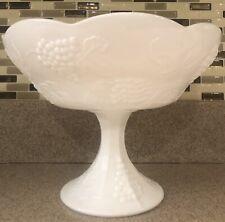 Vintage COLONY Centerpiece Harvest White Milk Glass GRAPE Pedestal Fruit Bowl