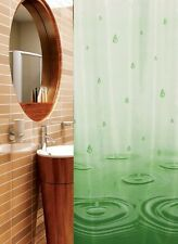 Rideau de douche en tissu + ANNEAUX 180 large x 200 haut blanc vert gouttes