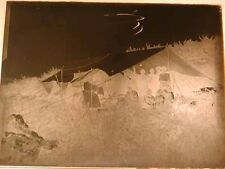 Antique GLASS NEGATIVE - PHOTOGRAPHIC PLATE, c1910 era OUTDOOR CAMPING, TENT.