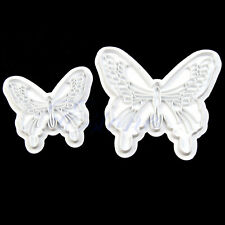 2pcs Butterfly Cake Cookie Fondant Decorate Sugarcraft Plunger Cutters Tool Mold