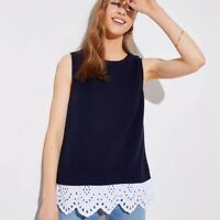 ANN TAYLOR LOFT Blue Eyelet Lace Sweater Tank Top Sz XS