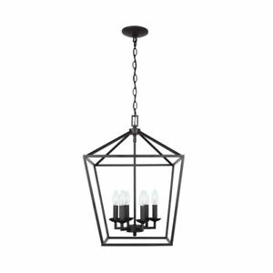 Caged Chandelier Hanging Light Fixture Home Decor Candle Style 6 Light Bronze