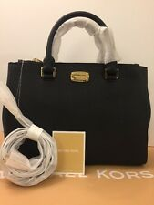 Michael Kors KELLEN MD Saff Leather Satchel 35S6GS0T2L in BLACK,NWT