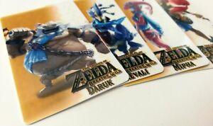 🏹 Zelda Breath of The Wild Amiibo Cards Champions All 4 Set 🏹