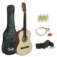 38inches Acoustic Guitar Burlywood Natural Beginners Bass W/ Accessories