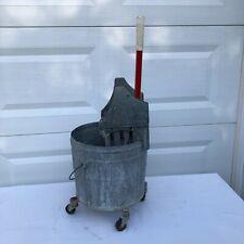 Vintage Geerpres Floor Knight Mop Bucket 4 Gallon On Casters Galvanized Nice