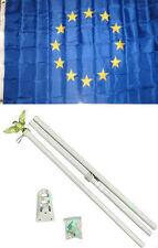 3x5 European Union Flag White Pole Kit Set 3'x5'