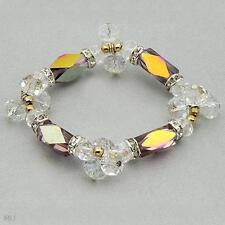 Beaded Crystal w/ Glass Muti-colored Stretch Bracelet  in Metallic base metal