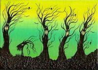 ACEO Original Whimsical Halloween Trees Animated Ravens Happy Fun Art ATC HYMES