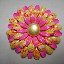 VINTAGE ENAMEL FLOWER pin / brooch  **PINK AND YELLOW **  VERY COOL FANTASTIC