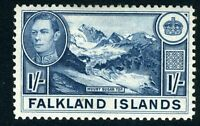 FALKLAND ISLANDS-1938-50 1/- Dull Blue Sg 158b MOUNTED MINT V12179