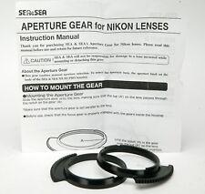 Sea & Sea Two Aperture Gears For Nikon AF Nikkor Lenses. Unused.