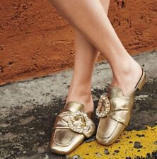 Miu Miu by PRADA Gold Leather Crystal Buckle Slides Shoes