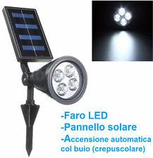 Faro LED energia solare + sensore luce.Faretto,pannello.Uso esterno crepuscolare