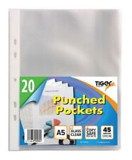 Tiger A5 strong transparent poly punched pockets x 20 sleeves/wallets