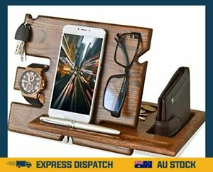 Wood Phone Docking Station Ash Key Holder Wallet Stand Watch Organizer Men Gift