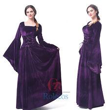 c6d90f97aefb50 Women Velvet Medieval Renaissance Dress Long Celtic Queen Gown Cosplay  Costume XL