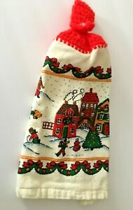 Handmade Crochet-Top Hanging Hand Towel Christmas Winter Scene Cotton Red Green