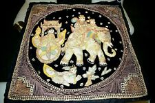 "Original India Tibet Sequined Elephant Pulling Cart ""Puffed""  Linen Textile"