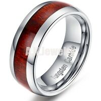 8mm Mens Tungsten Carbide Genuime Brown Wood Inlay Black Domed Wedding Band Ring