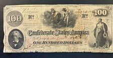 1862 $100 DOLLAR CONFEDERATE STATES CURRENCY CIVIL WAR NOTE