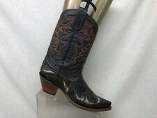 Corral Black Leather Inlay Cowboy Western Ankle Boots Womens Size 8.5 M - 2500