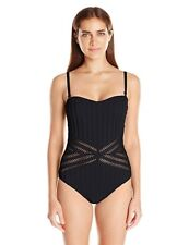 KENNETH COLE Tough Luxe Large Black Crochet Bandeau Mio One Piece Swimsuit New