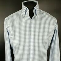 HUGO BOSS Mens Formal Shirt 40 15.75 Long Sleeve Blue Regular Fit Check Cotton