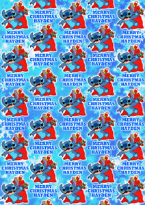 DISNEY STITCH Personalised Christmas Gift Wrap - Lilo & Stitch Wrapping Paper D2