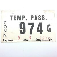 Connecticut 1977 Temp. Pass. Cardboard Old License Plate Garage Vtg Car Tag Auto