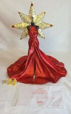 BARBIE MODEL MUSE 2017 HOLIDAY RED METALLIC GOWN DRESS & REMOVABLE GOLD STAR