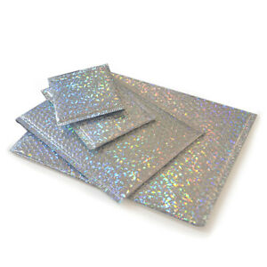 10x Holographic Bubble Mailers Padded Glitter Envelope Foam Self-Seal