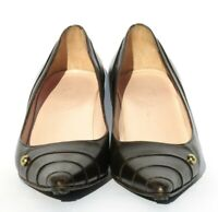 CHANEL Vintage Brown Leather Pointed Toe Gold CC Stud Mid Kitten Heel Pumps 36