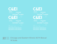 K4 N Decals Chicago and Eastern Illinois C&EI Boxcar White Gothic Font