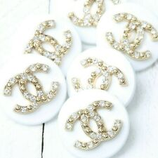 Chanel Button 6pc 20 mm CC White Vintage Style Unstamped 6 Buttons AUTH!!