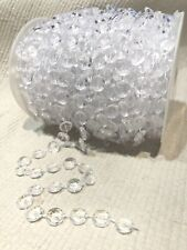 98 Ft. Acrylic Plastic Crystal Clear Beads Garland Chain Bridal Party Decoration