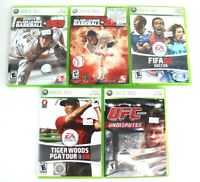 Lot Of 5 Sports Games Xbox 360 Fifa 08 UFC 2009 Tiger Woods 08 MLB 2K12 2K9