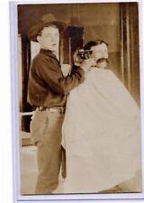 Real Photo Postcard RPPC - Barber Cutting Customer's Hair - Occupation