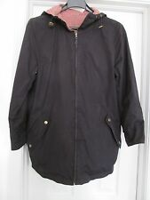 Ralph Lauren RL Jacket Coat Reversible Black Red Plaid Zip Hooded Women's S
