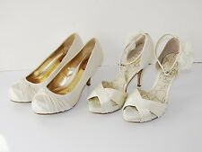 2 Paia di Sandali Donna Tacco Alto Festa Matrimonio Scarpe color avorio taglia 6 UK