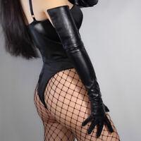 Women Faux Leather Gloves Wrist Long Evening Party Club Punk Black Retro Fashion
