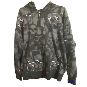 FAMOUS STARS AND STRAPS MENs SKULL PRINT TYPE BLACK HOODIE JACKET  SIZE L