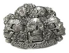 Harley-Davidson Women's Glam Reaper Skull & Roses Belt Buckle, Polished Silver